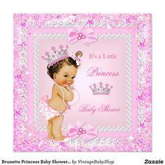 Pink vintage princess twins baby shower invitation pinterest brunette princess baby shower pink glitter tiara invitation filmwisefo