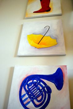 how i met your mother triptych acrylic painting. red cowboy boot, yellow umbrella, blue french horn.