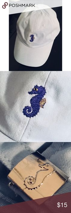 """Adjustable Unisex Seahorse Dad Hat light blue Adjustable Unisex Seahorse Dad Hat or Baseball Hat in light blue. Six panel classic """"dad"""" hat.  Durable fabric and strong adjustable buckle. Buckle also features a seahorse design. Can't find anything else like it on posh. Boutique items are brand new! -100% Cotton -Adjustable -Unisex Fit -Curved Brim Boutique Accessories Hats"""