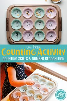 Cupcake Pan Counting Game activities Sensory Activities Months - Little Learning Club Nanny Activities, Counting Activities, Preschool Learning Activities, Preschool At Home, Preschool Math, Sensory Activities, Infant Activities, Fun Learning, Childcare Activities