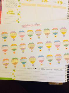 Hot Air Balloons 24 ct for Erin Condren Life Planner, Plum Paper Planner, Filofax, Kikki K, Calendar or Scrapbook by adrianapiper on Etsy