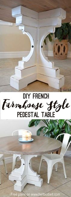 """Free woodworking plans to build a chunky french farmhouse style 48"""" round pedestal table. This table is made from simple lumber (2x8, 2x6, 2x4) from Home Depot. Love the reclaimed wood finish!  #WoodworkPlans"""