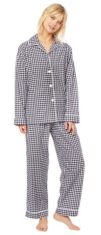 4983d7be11 The Cat s Pajamas Women s Black Gingham Luxe Pima Cotton Classic Pajama Set