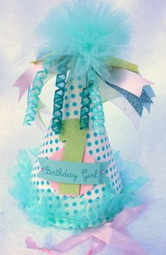 Pretty Miss birthday party hat in aqua shabby by LittlePinkTractor