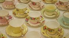 Selection vintage china tea cups and saucers