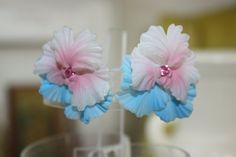 Blue and Pink 50's clip on earrings