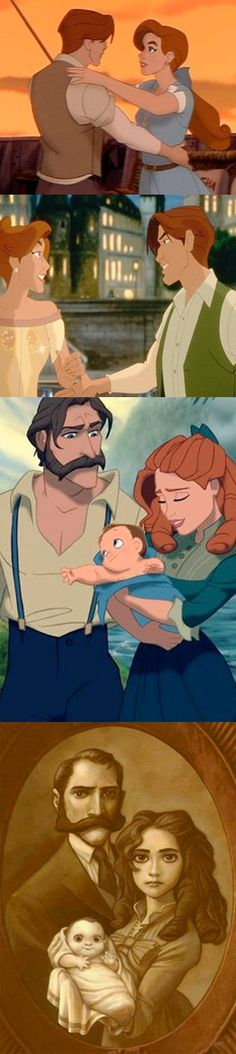 Fan theory: Anastasia and Dimitri are Tarzan's parents just older. That was the original theory.  I say they're grandparents to the parents of Elsa, Anna, and Tarzan
