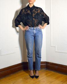 Black embroidered organza shirt   https://www.etsy.com/listing/222650235/black-sheer-floral-print-button-up?ref=shop_home_active_1  #womens #vintage #black #organza #embroidered #sheer #buttonup #buttondown #top #blouse #montreal #mtl #ootd #ootdmtl
