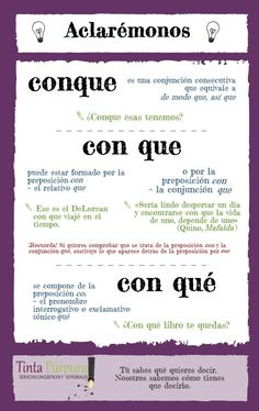 The difference between Spanish expressions: Conque, con que, con qué ✿ ✿ Share it with people who are serious about learning Spanish! Spanish Grammar, Spanish Vocabulary, Spanish Words, Spanish Language Learning, Spanish Teacher, How To Speak Spanish, Spanish English, Learn Spanish, Bilingual Classroom