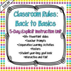 For your first 5 days: Build classroom community and explore four basic classroom rules through explicit instruction and cooperative learning. slides, teacher prompts, and student year-long goal booklet. Classroom Behavior Management, Classroom Rules, School Classroom, Classroom Ideas, Classroom Resources, Beginning Of The School Year, New School Year, First Day Of School, Organization And Management