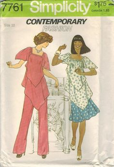 1970s Simplicity 7761 UNCUT Vintage Sewing Pattern Misses Handkerchief  Pullover Tunic 3a3208d68
