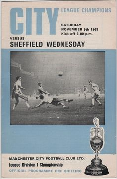 Vintage Football Programme - Manchester City v Sheffield Wednesday, season, by DakotabooVintage, Retro Football, Vintage Football, Vintage Ephemera, Vintage Postcards, Sheffield Wednesday, Football Program, Vintage Magazines, Manchester City, Etsy Vintage