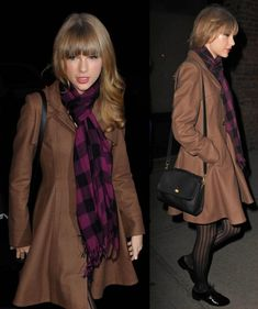 Taylor Swifts brown flared coat in New York