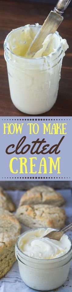 Homemade Clotted Cream ~ easy oven method - this luxurious spreadable cream is a must for afternoon tea and scones, and the only way to get it is to buy those pricey little imported bottles ~ but now you can make it right in your own kitchen! Scottish Recipes, Irish Recipes, Tea Recipes, Dessert Recipes, Cooking Recipes, Recipies, Clotted Cream, Vanilla Cream, Simply Yummy