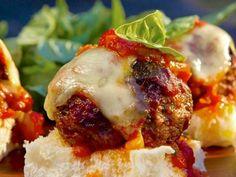 As seen on Guy's Big Bite: Italian Meatball Slyders with Red Sauce #GuyFieri #Meatball