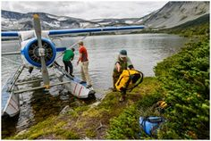 Alan Schmidt, Dave Costello and Parker Meek unload their gear at Ptarmigan Lake from a float plane in the Tweedsmuir National Park, BC, Canada Float Plane, Canoe And Kayak, San Clemente, Young People, Outdoor Travel, Kayaking, Adventure Travel, National Parks, Photography