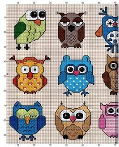 Owl cross stitch patterns for tunisian afghan Cross Stitch Owl, Cross Stitch Animals, Cross Stitch Charts, Cross Stitch Designs, Cross Stitching, Cross Stitch Embroidery, Embroidery Patterns, Cross Stitch Patterns, Owl Patterns