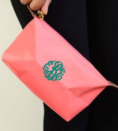 Personalized With Embroidery Longchamp Inspired Coral Cosmetic Bag With Detachable Wristlet Ban on Etsy, $9.95
