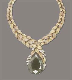AN IMPRESSIVE COLOURED DIAMOND NECKLACE, BY MOUAWAD   The pendant set with a pear-shaped yellowish-grey diamond, weighing approximately 284.31 carats, with a marquise-shaped diamond part surround, to the graduated pavé-set diamond and pink diamond leaf link necklace, mounted in gold