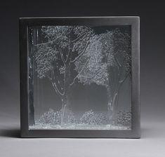 Kiln Fused Glass in a Shadow Box 10″ x 10″ x 4″