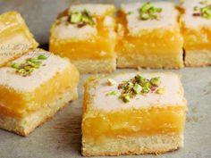 "Luscious Lemon Slice (From ""Mix & Bake"" by Belinda Jeffery) Just Desserts, Delicious Desserts, Dessert Recipes, Soft Sugar Cookies, Lemon Slice, Love Food, Baking Recipes, Sweet Recipes, Sweet Tooth"