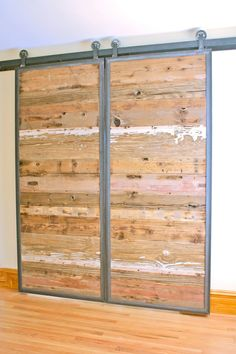 Single or double doors available in SLIDING or HINGING style setups.  Reclaimed wood and steel barn door with metal barn door TRACK INCLUDED. We