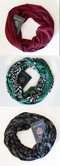 The perfect travel gear!!! A scarf with hidden pocket perfect for storing your passport, money or other items you want to sneak around ;)