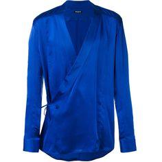 Balmain Wrap Shirt ($1,366) ❤ liked on Polyvore featuring men's fashion, men's clothing, men's shirts, mens long sleeve silk shirt, mens long sleeve shirts, mens longsleeve shirts, mens wrap shirt and mens vneck shirts