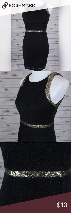 ✨Black & Gold Sequin Dress ✨Black dress with gold sequin trim ✨Sparkly material, with no glitter fall out.  ✨Stretchy material ✨Great for night out  ✨Date night  ✨Weddings  ✨Cocktail party   ✔️Worn once  ✔️Excellent condition  I am willing to ⬇️  the price, just  like ❤️ the product and or leave me a comment! Dresses Mini