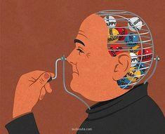 來自英格蘭自由插畫家John Holcroft的一組諷刺漫畫