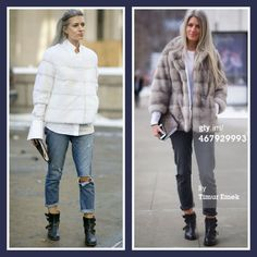 Sarah Harris in Lilly e Violetta white Sarah mink jacket & grey Dom mink jacket | Paige jeans | Fabsugar & Timur Emek/Getty Images