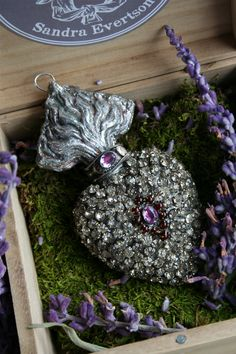 Rhinestone pave Ex Voto: antique paste rhinestones and vintage amethyst gem stones.