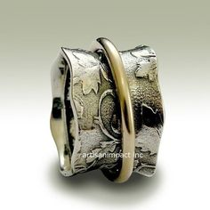 Vine ring wide silver band botanical band yellow by artisanlook