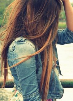 Teased hair and casual denim jacket