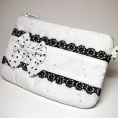 The Peace, White Lolita Black-Laced Zipper Pouch