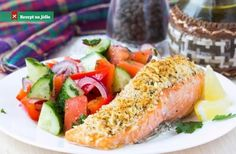 Fish Recipes: A beautifully baked fish makes for a simple and quick dinner. Weve pulled out our 11 best baked fish recipes that use few ingredients and fewer utensils to make a delicious meal. Parmesan Crusted Fish, Parmesan Salmon, Crusted Salmon, Fish Recipes, Seafood Recipes, Healthy Recipes, Baked Fish, Baked Salmon, Side Salad