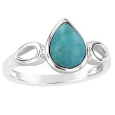 Sterling Silver Stabilized Turquoise Pear Shaped Fashion Ring (Size: 7.5), Women's, Blue
