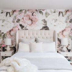 There's no place like your bed. Obsessed with this pretty in pink bedroom? Tap image to get details on this upholstered bed. Photo by @carleyscamera via @parachutehome and @mrorlandosoria. #hayneedlehome Romantic Bedroom Decor, Stylish Bedroom, Cozy Bedroom, Home Decor Bedroom, Modern Bedroom, Bedroom Furniture, Master Bedroom, Bedroom Ideas, Contemporary Bedroom