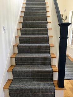 Dash And Albert Stair Runner With Painted Blue Handrail.