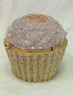Silver Gold Cupcake Shaped ~Handmade Austria Crystal 3D Shaped Cocktail Bag