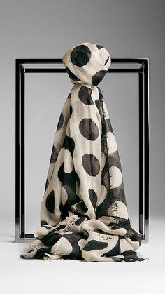 Polka Dot Cashmere Silk Scarf | Burberry