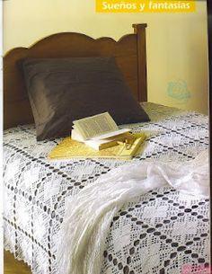 Simple square motif crochet bedspread with diagrams