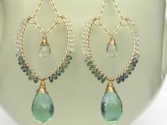 Quartz, Sapphire, Moonstone and 14K Gold Fill Earrings--Handmade, One-of-a-Kind, Leaf Hoops, Faceted Gemstone, Wire Wrap