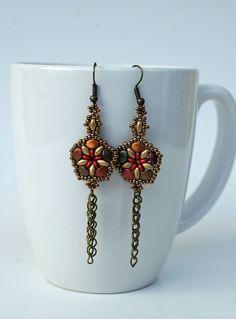 Beadwork Metallic Superduo Dangle Earrings , Beaded Superduo Drop Earrings in Fall colors