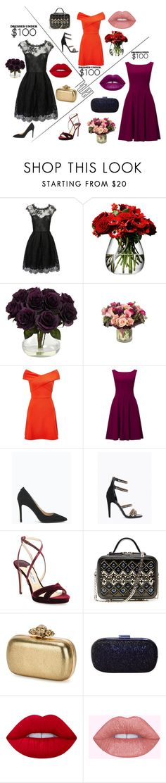 """Dresses Under $100"" by natali1313 ❤ liked on Polyvore featuring WithChic, LSA International, Jayson Home, Miss Selfridge, Phase Eight, Jimmy Choo, Alexander McQueen, Anya Hindmarch, Lime Crime and under"