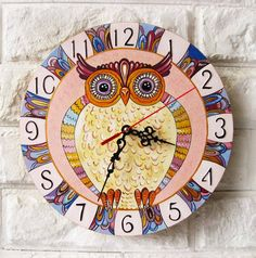 The pink owl Wall Clock, Home Decor for Children Baby Kid Boy Girl