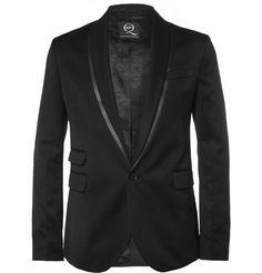 McQ Alexander McQueen - Black Slim-Fit Twill Tuxedo Jacket