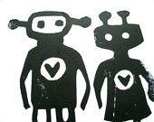 Robot Love Print by The Big Harumph on Etsy.