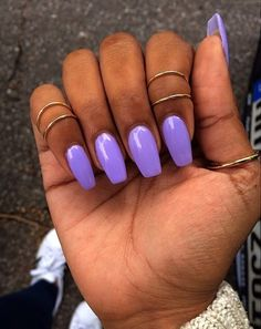 Tapered square verging on ballerina nail shapes squoval, squoval acrylic nails, purple acrylic nails Squoval Acrylic Nails, Nail Shapes Squoval, Purple Acrylic Nails, Summer Acrylic Nails, Purple Nails, Hair And Nails, My Nails, Prom Nails, Ballerina Nails Shape