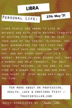 Libra Horoscope Today Libra Daily Horoscope, You Must, Helping Others, Health, Life, Health Care, Salud